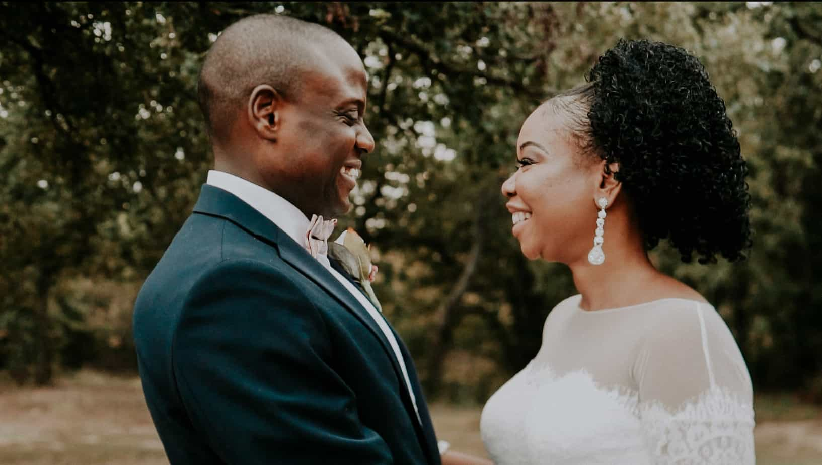 nigerian bride and groom looking at each other